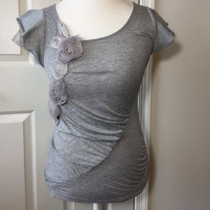 Anthropologie MYSTREE gray embellished top